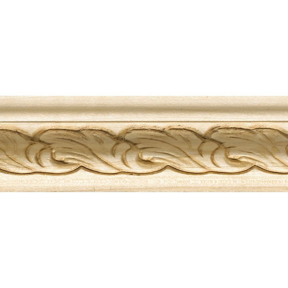 White Hardwood Embossed Acanthus Backband 1-1/16 X 1-5/8 - Sold Per 8 Foot Piece