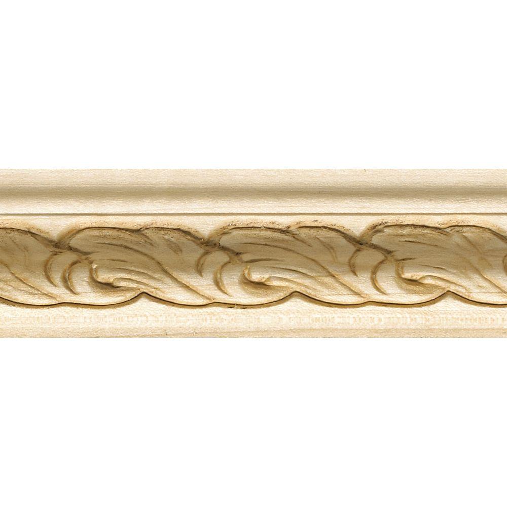 Feuillure en bois blanc dur, gaufrée en acanthe 1-1/16 po X 1-5/8 po - prix par pièce 8 pied