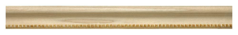 White Hardwood Embossed Bead Base Cap 3/4 X 1-1/4 - Sold Per 8 Foot Piece