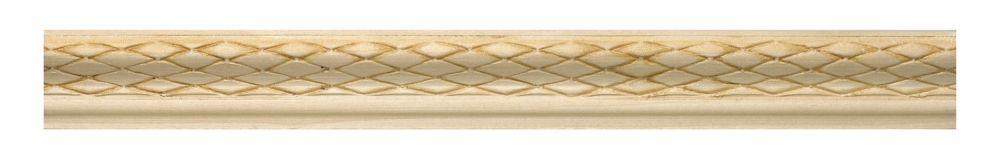 White Hardwood Embossed Weave Base Cap 3/4 X 1-1/4 - Sold Per 8 Foot Piece