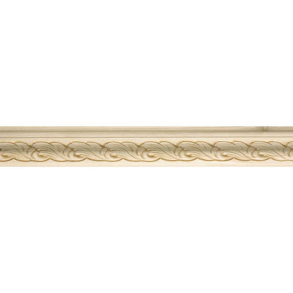 Capuchon en bois blanc dur, gaufrée en acanthe 3/4 po X 1-1/4 po - prix par pièce 8 pied