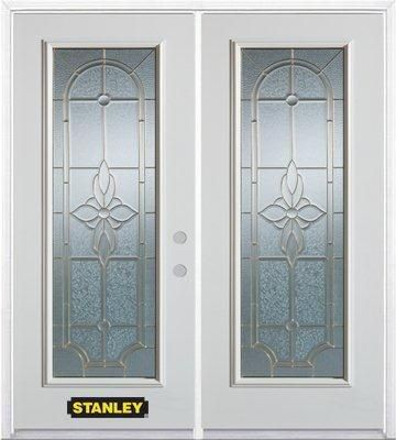 74-inch x 82-inch Trellis Full Lite White Double Steel Door with Astragal and Brickmould