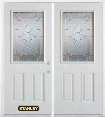 70-inch x 82-inch Rochelle 1/2-Lite 2-Panel White Double Steel Door with Astragal and Brickmould