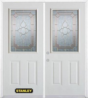66-inch x 82-inch Rochelle 1/2-Lite 2-Panel White Double Steel Door with Astragal and Brickmould