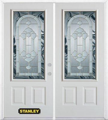 66-inch x 82-inch Radiance 3/4-Lite 2-Panel White Double Steel Door with Astragal and Brickmould