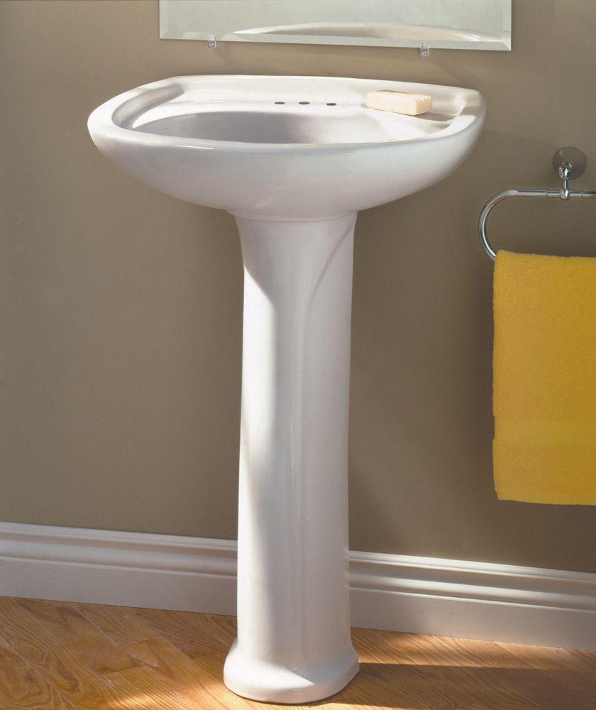 Marina 4-inch Bathroom Pedestal Sink Basin in White