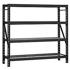 78-inch H x 77-inch W x 24-inch D Industrial Strength Welded Storage Rack With Wire Deck in Black