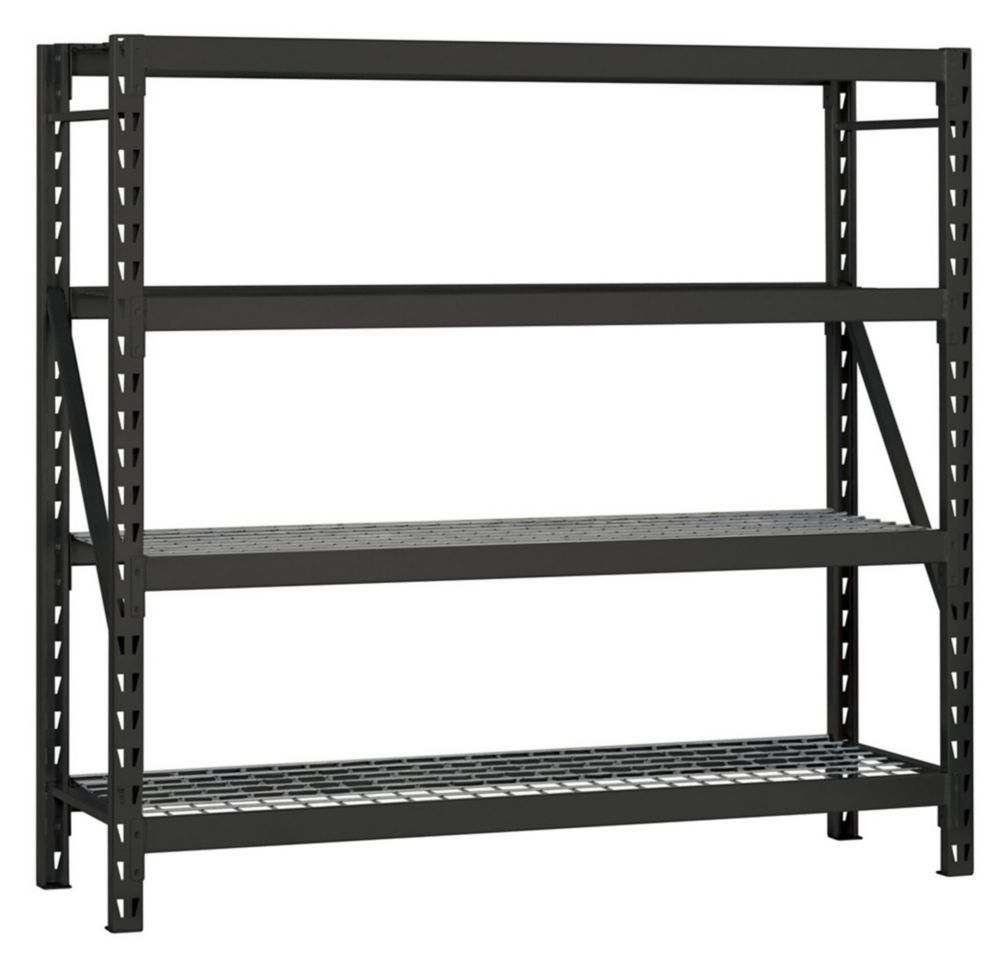 HUSKY 78-inch H x 77-inch W x 24-inch D Industrial Strength Welded Storage Rack With Wire Deck in Black