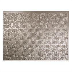 Fasade Lotus Brushed Nickel 18 inch x 24 inch PVC Backsplash Panel