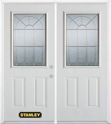 Porte dentrée double en acier préfini blanc, munie de deux panneaux et dun 1/2 verre, 66 po x 82 ...
