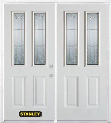 66 In. x 82 In. 2-Lite 2-Panel Pre-Finished White Double Steel Entry Door with Astragal and Brick...