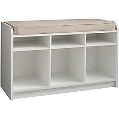 White Storage Bench With Seat And Cubbie Storage