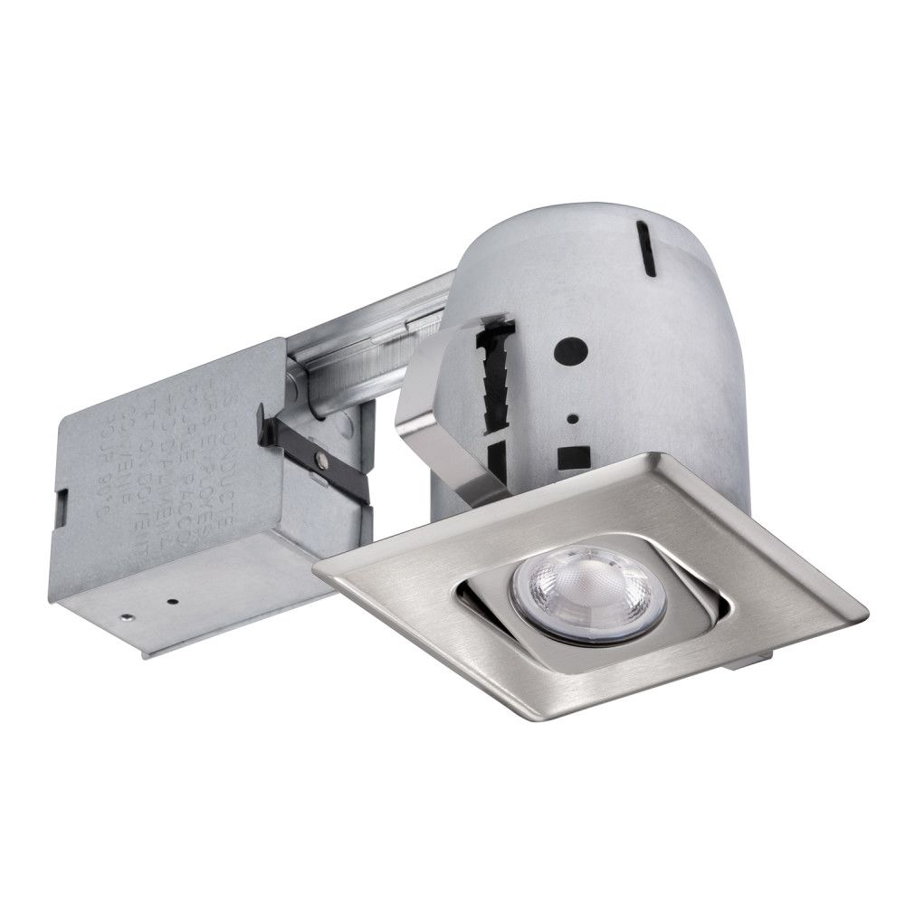 Globe Electric 4 Inch Square Directional Recessed Lighting Kit Brushed Nickel The Home Depot