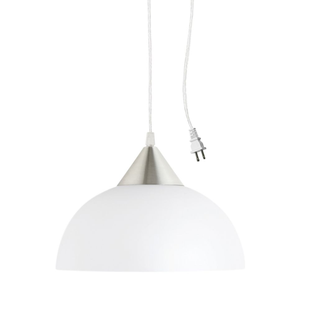 Globe Electric Amaris 11-inch Plug-In Pendant Light Fixture in White