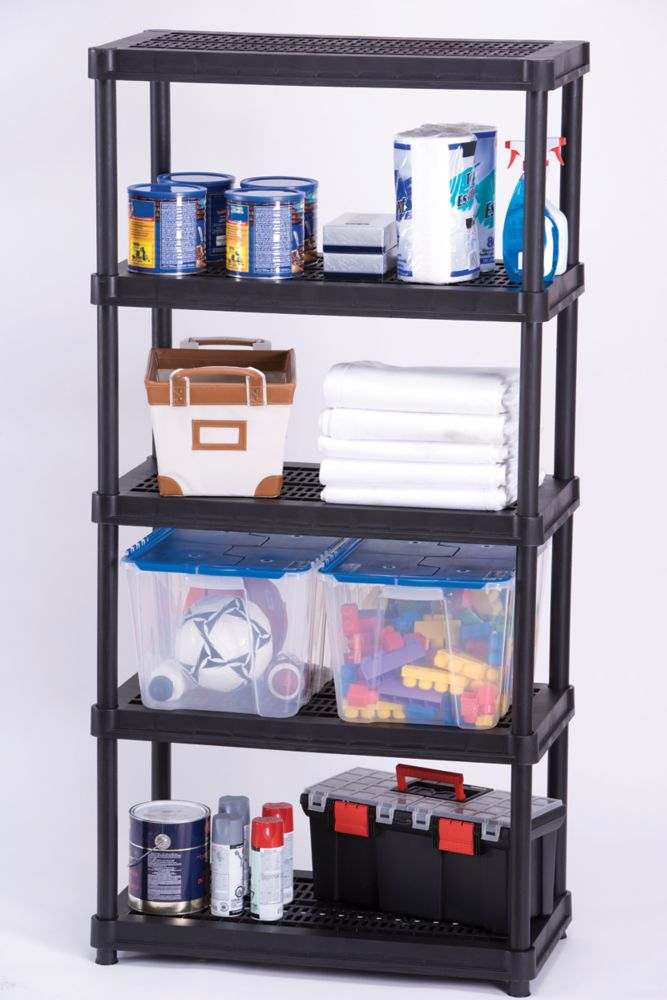 Shelving 5 Level Round 18 Inch x 36 Inch - Black
