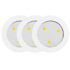 LED Under Cabinet Puck Lights, White, 3 Pack