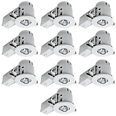 4 Inch Recessed Lighting Kit Combo Pack, White, 10 Pack