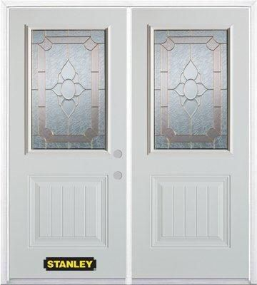 70-inch x 82-inch Rochelle 1/2-Lite 1-Panel White Double Steel Door with Astragal and Brickmould