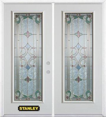 66-inch x 82-inch Aristocrat Full Lite White Double Steel Door with Astragal and Brickmould