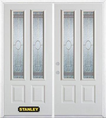 66-inch x 82-inch Rochelle 2-Lite 2-Panel White Double Steel Door with Astragal and Brickmould