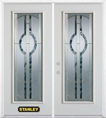 74-inch x 82-inch Stephany Full Lite White Double Steel Door with Astragal and Brickmould