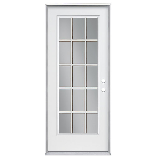 32-inch 15-Lite Internal Grille Double Low-E Argon-Filled Lefthand Primed Steel Entry Door