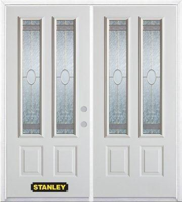 70-inch x 82-inch Rochelle 2-Lite 2-Panel White Double Steel Door with Astragal and Brickmould