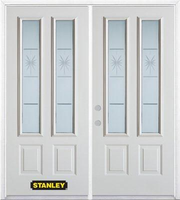 74-inch x 82-inch Beaujolais 2-Lite 2-Panel White Double Steel Door with Astragal and Brickmould