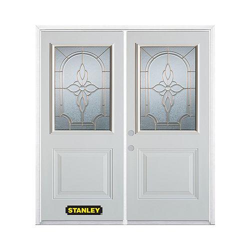 STANLEY Doors Porte dentrée double en acier préfini blanc, munie d'un panneau et dun 1/2 verre, 66 po x 82 po avec astragale et moulure de brique