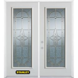 Stanley Doors 71 inch x 82.375 inch Trellis Brass Full Lite Prefinished White Right-Hand Inswing Steel Prehung Double Door with Astragal and Brickmould