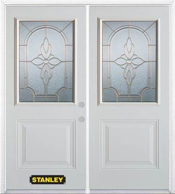66-inch x 82-inch Trellis 1/2-Lite 1-Panel White Double Steel Door with Astragal and Brickmould