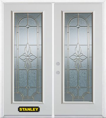 66-inch x 82-inch Trellis Full Lite White Double Steel Door with Astragal and Brickmould