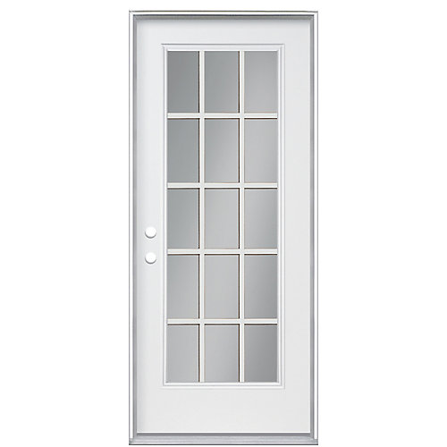 36-inch 15-Lite Internal Grille Double Low-E Argon-Filled Righthand Primed Steel Entry Door