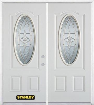 Porte dentrée double en acier préfini blanc, munie dun 3/4 verre ovale, 66 po x 82 po avec astrag...