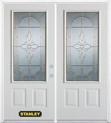 66-inch x 82-inch Trellis 3/4-Lite 2-Panel White Double Steel Door with Astragal and Brickmould