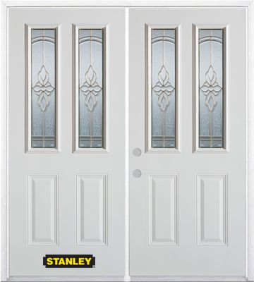 66-inch x 82-inch Trellis 2-Lite 2-Panel White Double Steel Door with Astragal and Brickmould