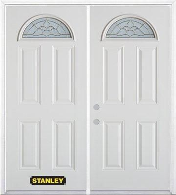 74-inch x 82-inch Victoria Fan Lite 4-Panel White Double Steel Door with Astragal and Brickmould