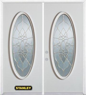 66-inch x 82-inch Victoria Full Oval Lite White Double Steel Door with Astragal and Brickmould