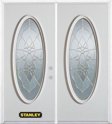 70 In. x 82 In. Full Oval Lite Pre-Finished White Double Steel Entry Door with Astragal and Brick...