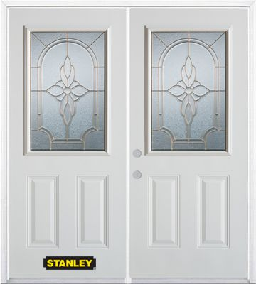 74-inch x 82-inch Trellis 1/2-Lite 2-Panel White Double Steel Door with Astragal and Brickmould