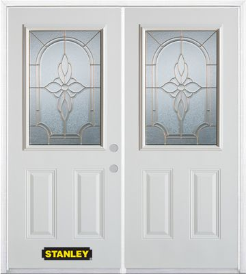 70-inch x 82-inch Trellis 1/2-Lite 2-Panel White Double Steel Door with Astragal and Brickmould