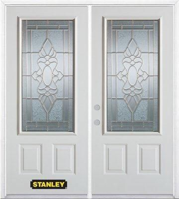 66-inch x 82-inch Victoria 3/4-Lite 2-Panel White Double Steel Door with Astragal and Brickmould
