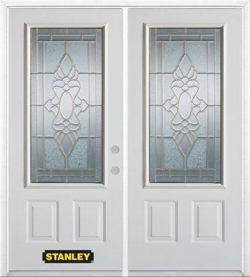 70 In. x 82 In. 3/4 Lite 2-Panel Pre-Finished White Double Steel Entry Door with Astragal and Bri...