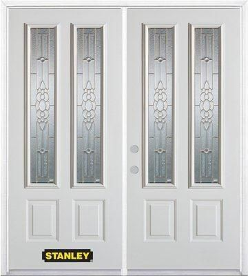 74-inch x 82-inch Victoria 2-Lite 2-Panel White Double Steel Door with Astragal and Brickmould