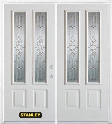 70-inch x 82-inch Victoria 2-Lite 2-Panel White Double Steel Door with Astragal and Brickmould