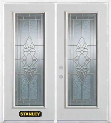 66-inch x 82-inch Victoria Full Lite White Double Steel Door with Astragal and Brickmould