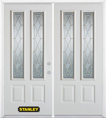 74-inch x 82-inch Queen Anne 2-Lite 2-Panel White Double Steel Door with Astragal and Brickmould