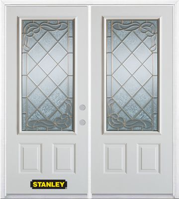 66-inch x 82-inch  3/4-Lite 2-Panel White Double Steel Door with Astragal and Brickmould