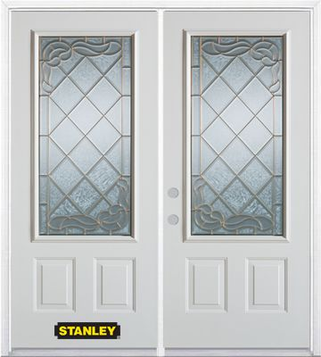 70-inch x 82-inch Queen Anne 3/4-Lite 2-Panel White Double Steel Door with Astragal and Brickmoul...