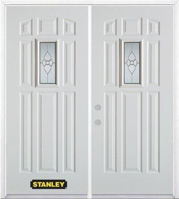 66-inch x 82-inch Rectangular Lite 8-Panel White Double Steel Door with Astragal and Brickmould